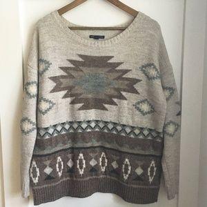 American Eagle Aztec Print Wool Sweater, Large